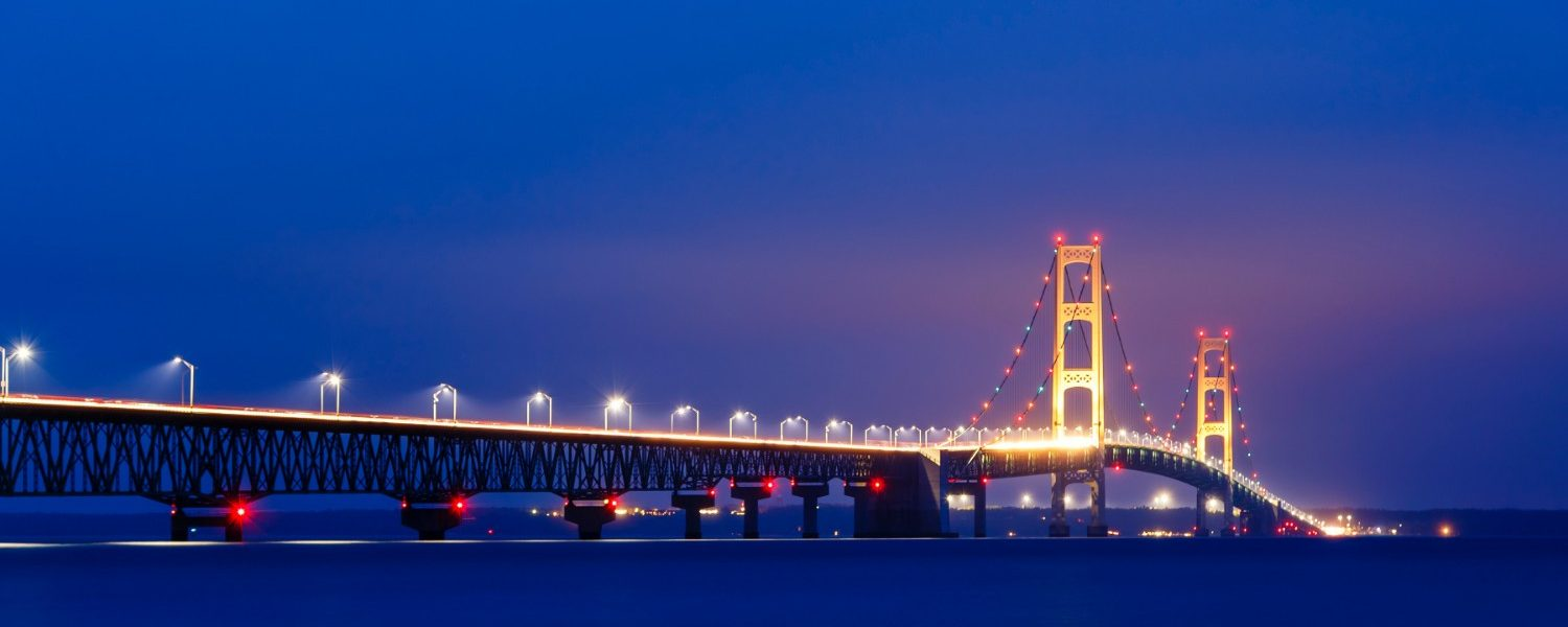 Mackinac Island Bridge lit up at night