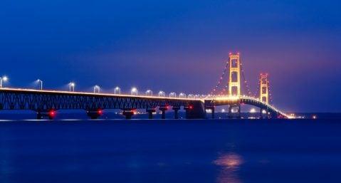 Mackinac Island Bridge at Night