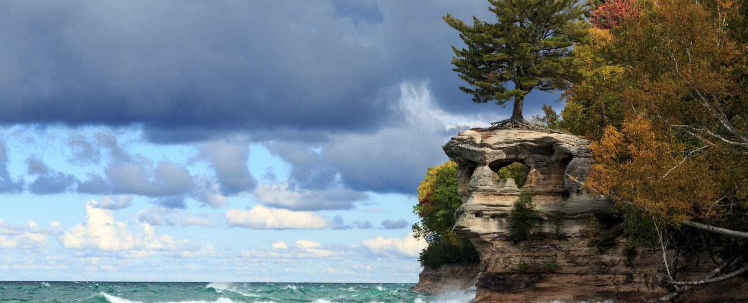 the rocky shore of Pictured Rocks National Lakeshore along Lake Superior