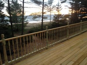 the deck of the Lake House Oasis rental in the Upper Peninsula