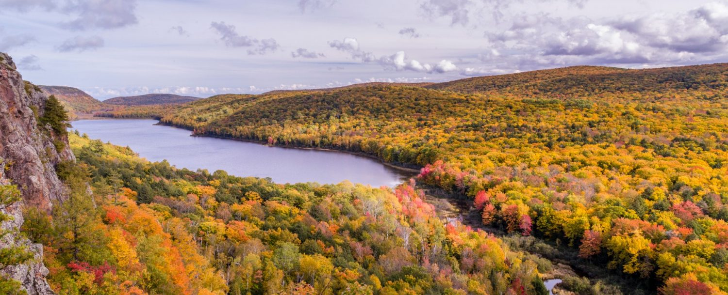 Fall foliage in Porcupine Mountains in Michigan