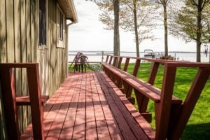 the deck of the Houghton Lake Hideaway in Northern Michigan