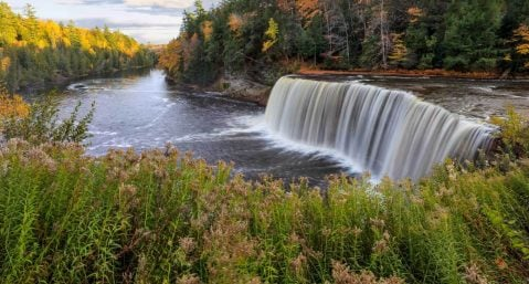 the lower waterfall at Tahquamenon Falls State Park