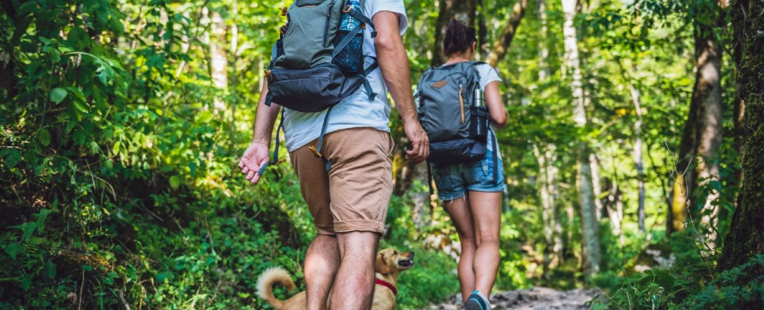 a couple hiking